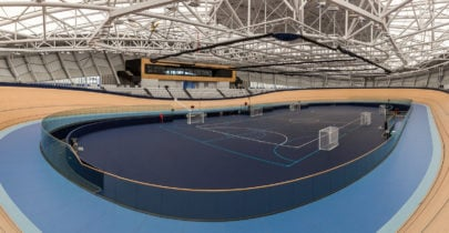Oblique view of Anna Mears Velodrome featuring a synthetic surface