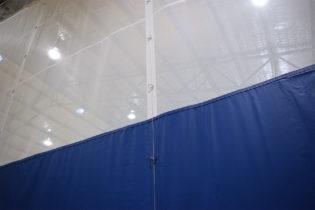 Close up of apex curtain material seam