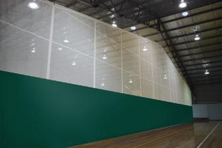 Lowered kelly green peak fold curtain
