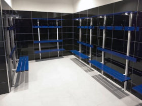 Shelving and hooks installed in U shaped configuration