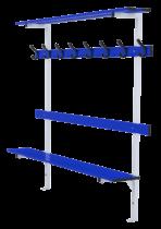 Standard bench 2m long with backrest, peg rail and shelf