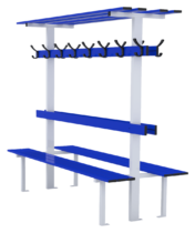 Central bench 2m long with backrest, peg rail and shelf