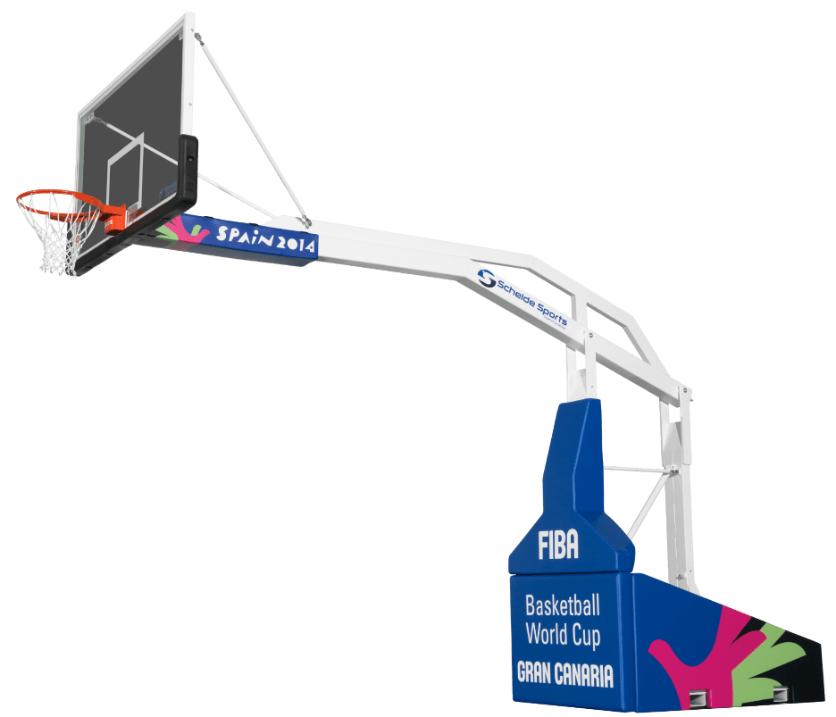 Portable indoor basketball system from the Basketball World Cup in Gran Canaria