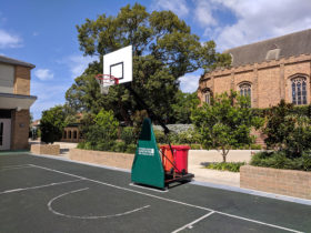 Oblique perspective of BBES33 portable basketball
