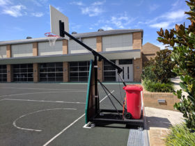 Side view of 3×3 basketball system