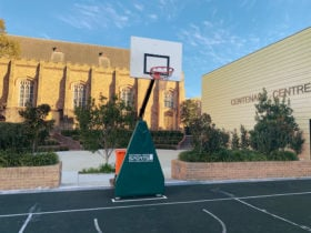 Front view of outdoor 3×3 basketball system